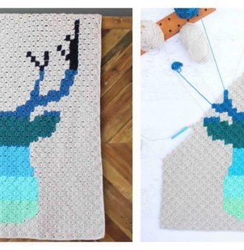 Corner to Corner Deer Afghan Blanket Free Crochet Pattern