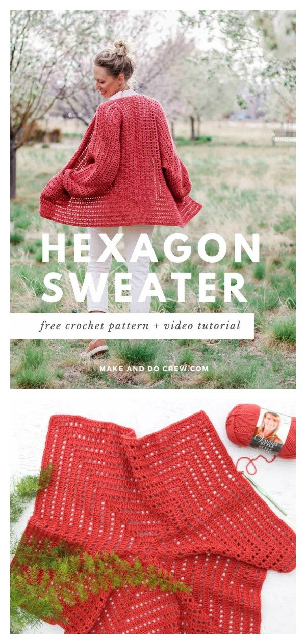 Easy Hexagonal Cardigan Sweater Free Crochet Pattern and Video Tutorial