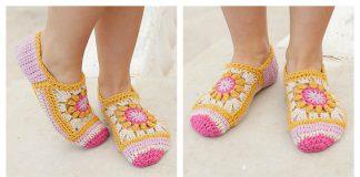 Flower Square Slippers Free Crochet Pattern
