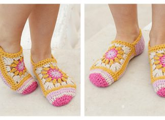 Flower Square Slippers Free Crochet Pattern