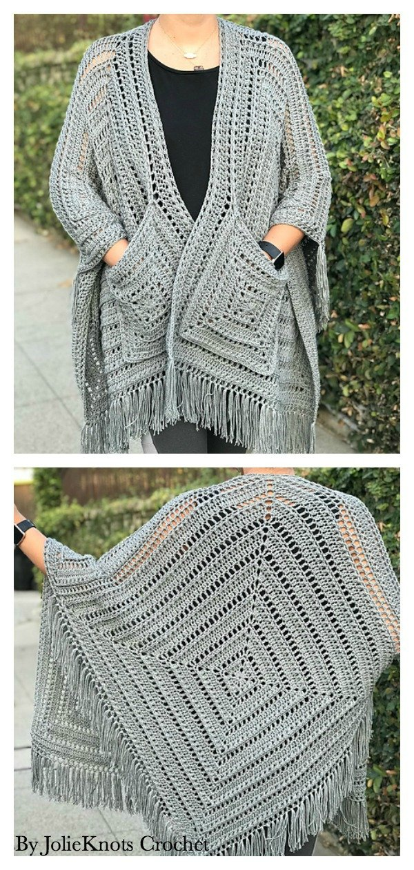 How to Crochet Lazy Diamond Boho Pocket Shawl