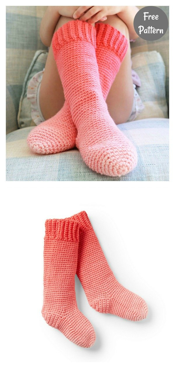Kids Knee High Socks Free Crochet Pattern