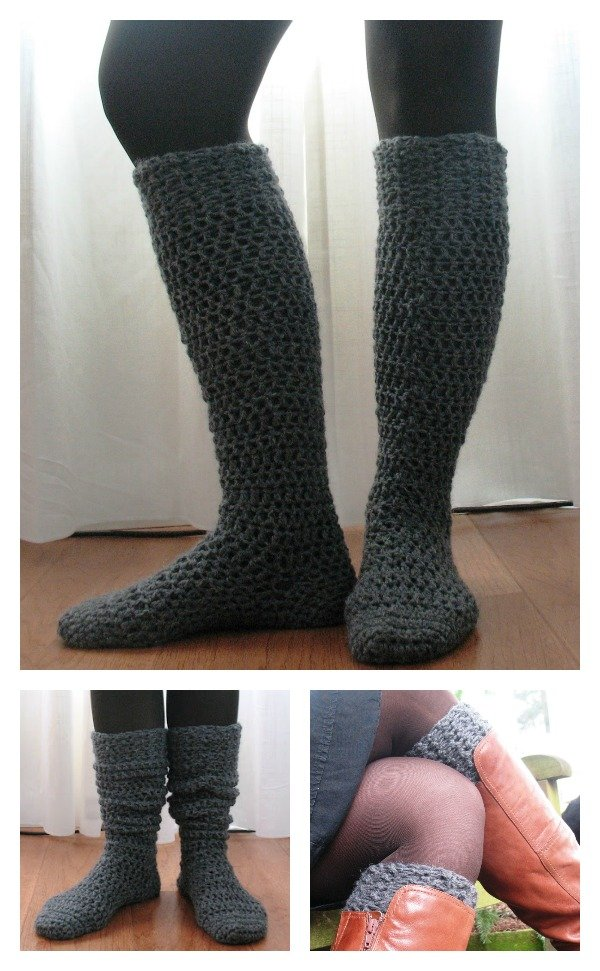Knee-High Boot Socks Free Crochet Pattern