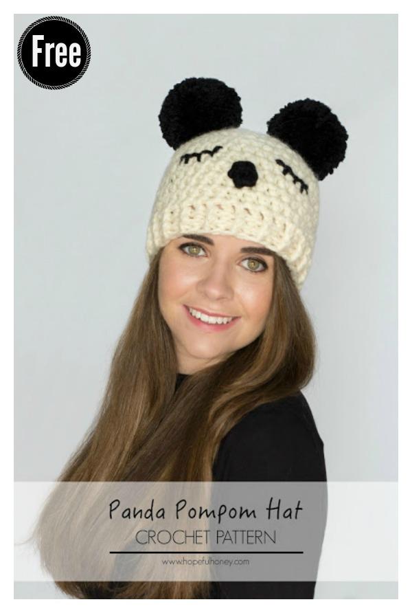 Panda Pompom Hat Free Crochet Pattern Cool Creativities