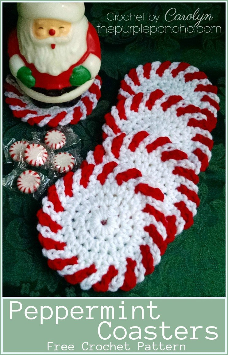 Peppermint Coasters Free Crochet Pattern