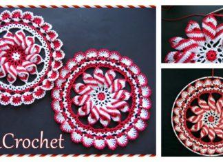 Peppermint Pinwheel Doily Free Crochet Pattern