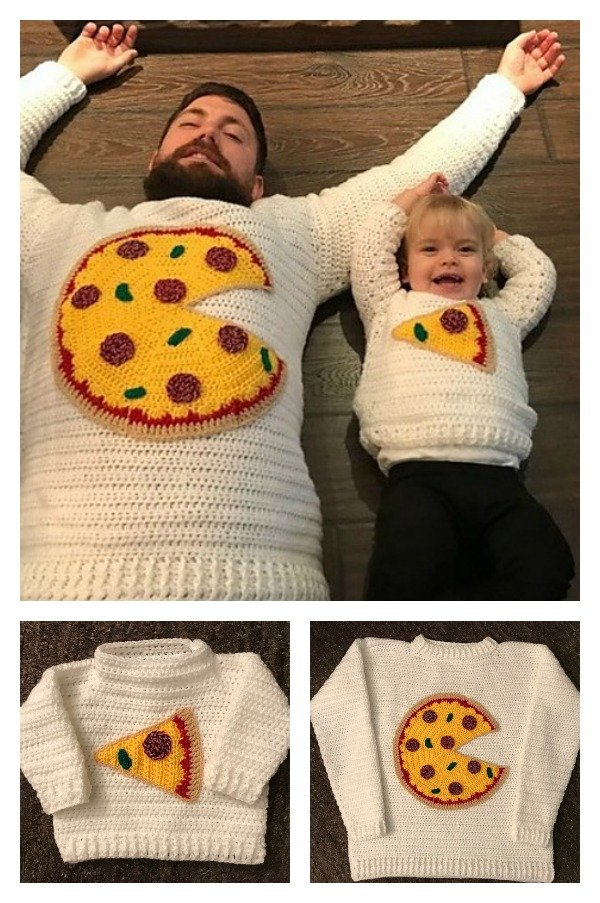 Pizza Pie Sweater for Dad and Me Crochet Pattern