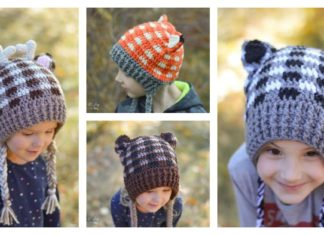 Plaid Woodland Animal Hats Free Crochet Pattern