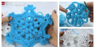 Puff Stitch Snowflake Ornament Crochet Video Tutorial