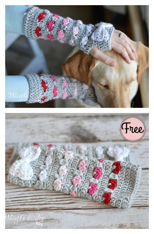 Puppy Love Heart Fingerless Arm Warmers Free Crochet Pattern