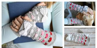 Puppy Love Heart Fingerless Arm Warmers Free Crochet Pattern