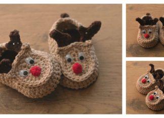 Reindeer Baby Booties Free Crochet Pattern and Video Tutorial