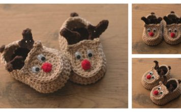 Reindeer Baby Booties Free Crochet Pattern and Video Tutorial
