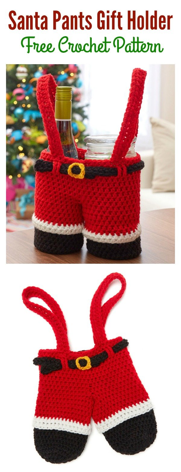 Santa Pants Gift Holder Free Crochet Pattern