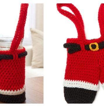 Santa Pants Gift Holder Free Crochet Pattern