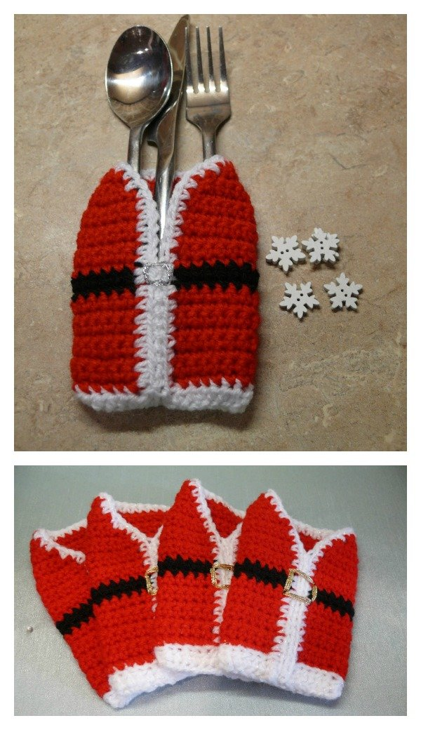 Christmas Cutlery Holders Free Crochet Patterns