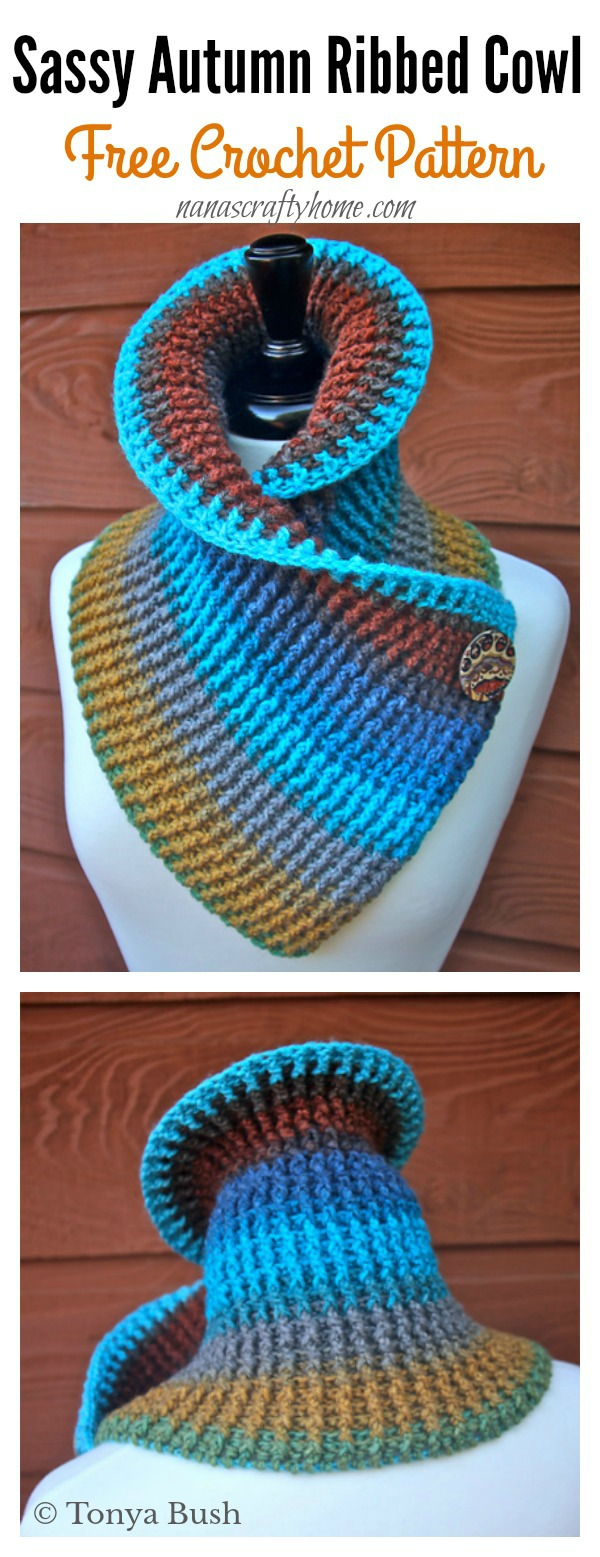 Sassy Autumn Ribbed Cowl Free Crochet Pattern