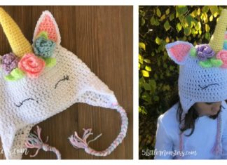 Unicorn Hat Free Crochet Pattern with Flowers