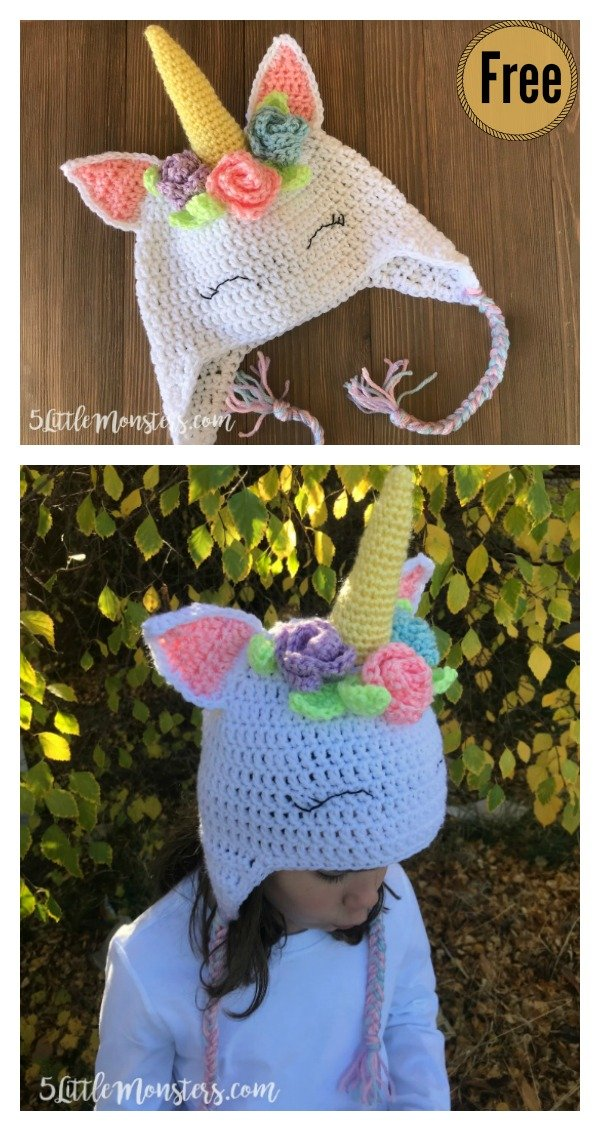 11fcdcf266c Unicorn Hat Free Crochet Pattern with Flowers