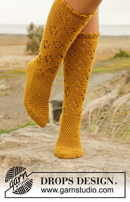 Walking on Sunshine Lace Knee High Socks Free Crochet Pattern