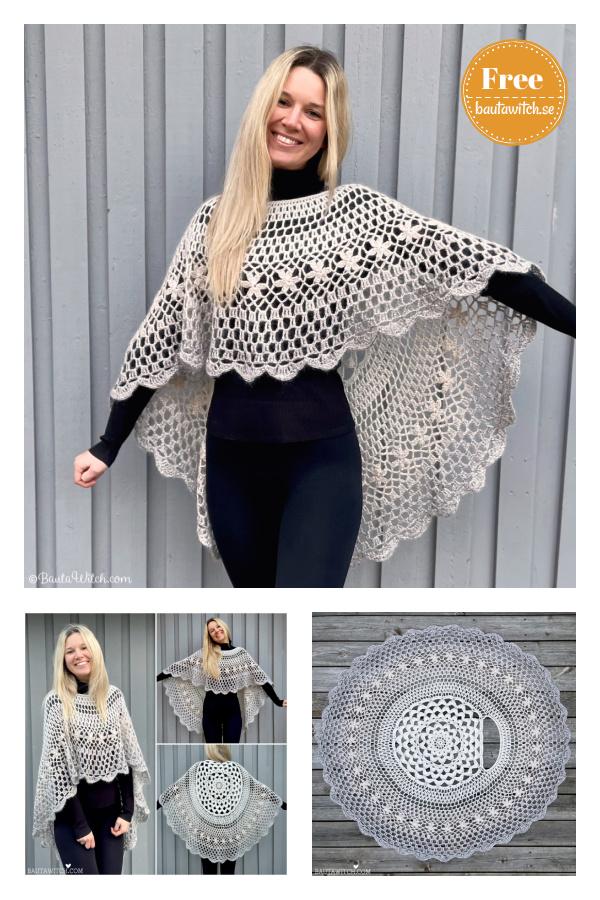 Asymmetric Mandela Circle Poncho Free Crochet Pattern