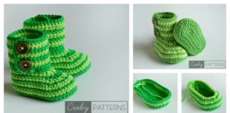 Green Zebra Baby Booties Free Crochet Pattern