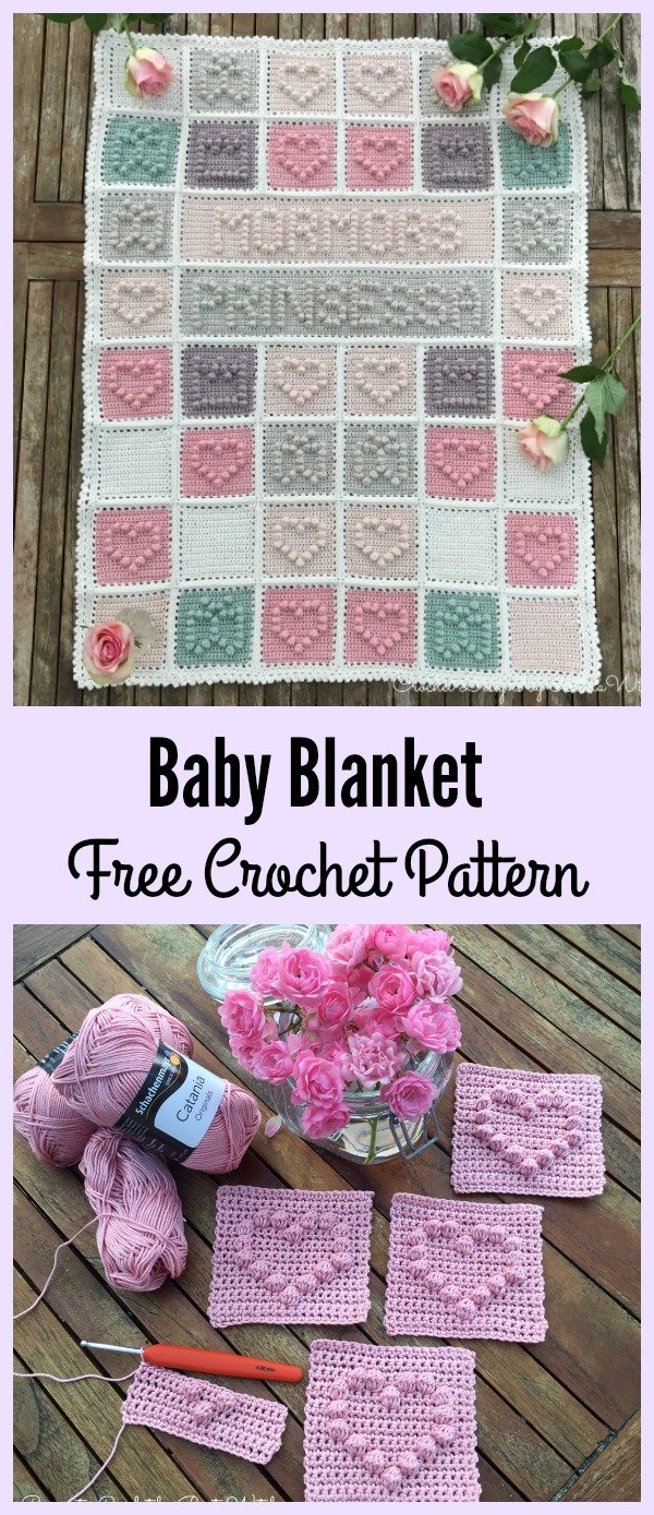 Heart Bubble Stitch Baby Blanket Free Crochet Pattern