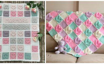 Heart Bubble Stitch Baby Blanket Free Crochet Patterns