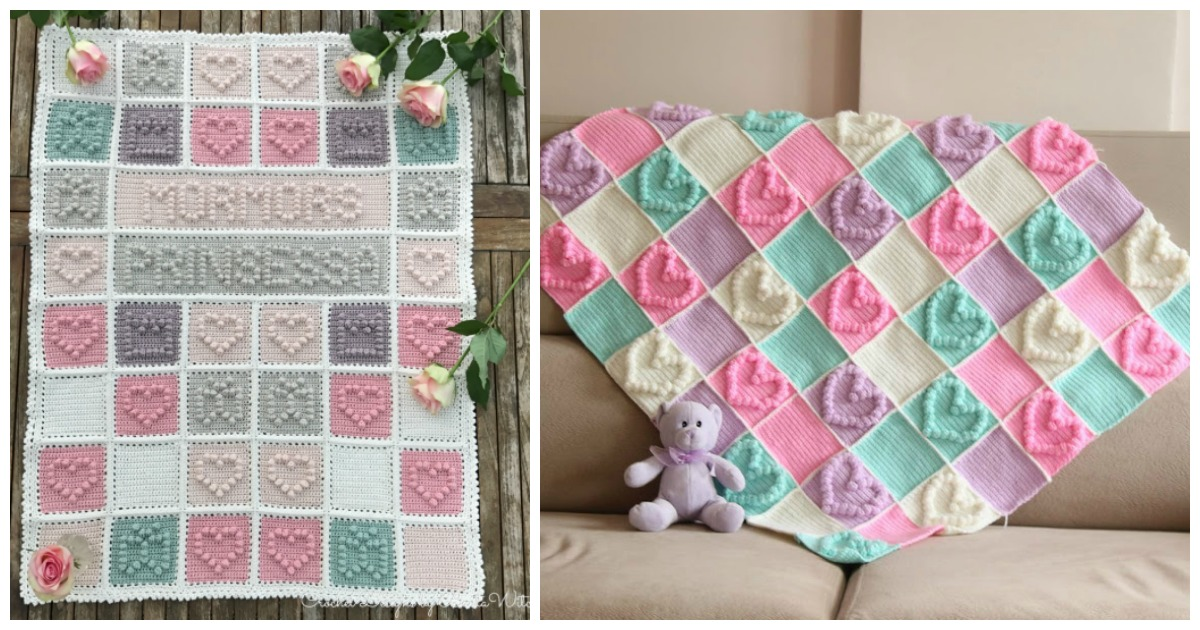 Heart Bubble Stitch Baby Blanket Free Crochet Pattern f