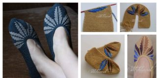 Leaf Motif Slippers Free Knitting Pattern