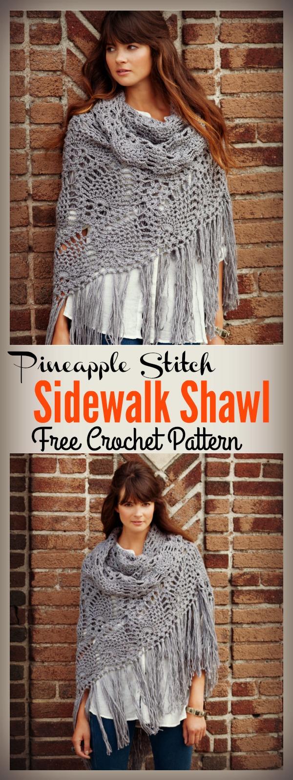 Pineapple Stitch Sidewalk Shawl Free Crochet Pattern and Video Tutorial