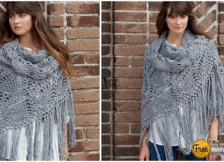 Pineapple Stitch Sidewalk Shawl Free Crochet Pattern and Video Tutorial