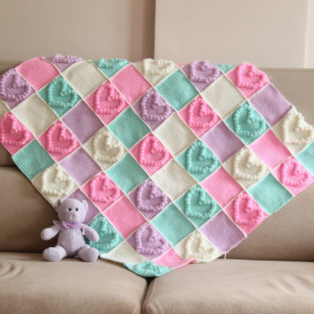 Crochet Heart Bubble Stitch Baby Blanket