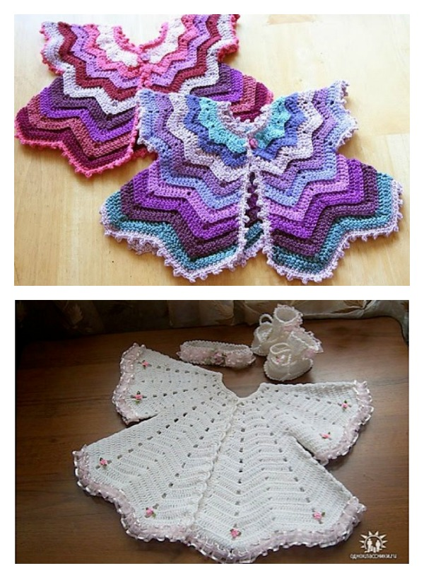 Star Shaped Baby Chevron Cardigan Free Crochet Pattern Cool