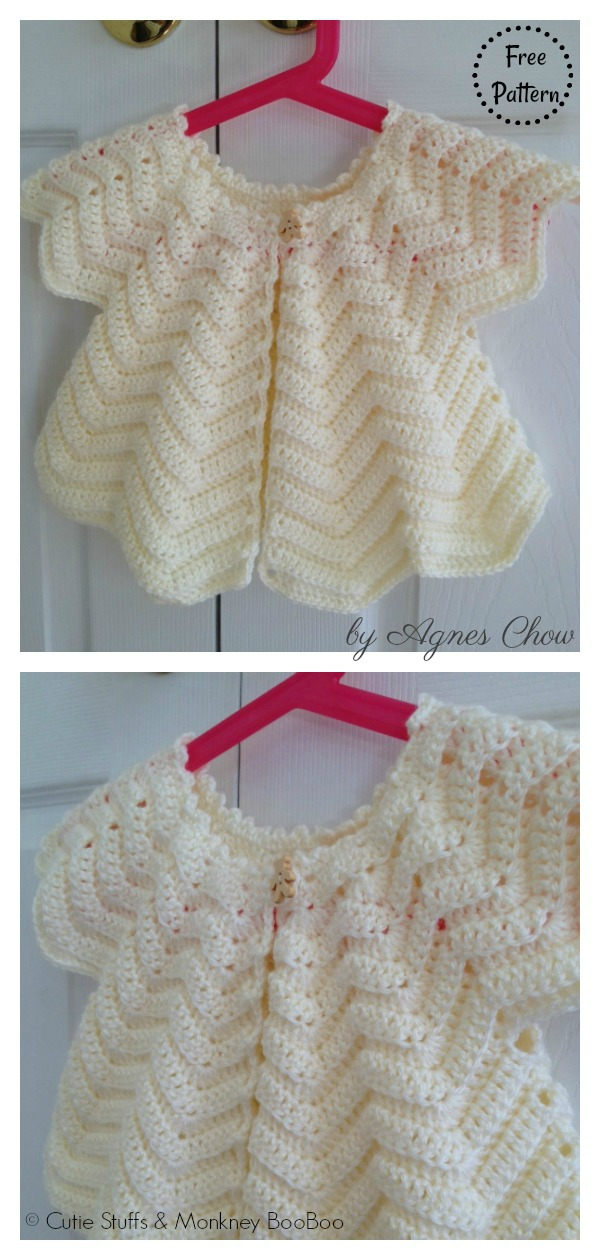 Star Shaped Emmy's Chevron Baby Cardigan Free Crochet Pattern