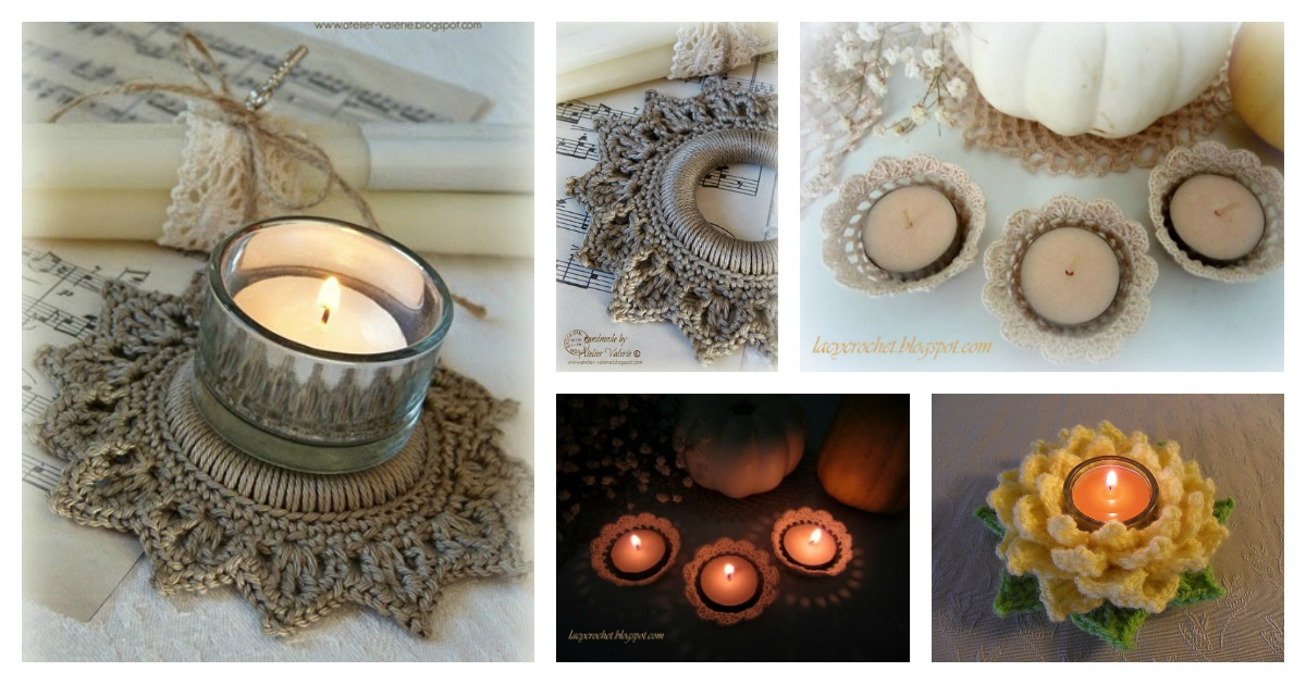 Tealight Candle Holder Free Crochet Pattern