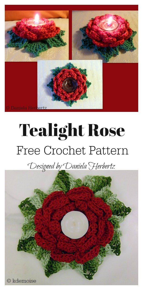 Tealight Rose Candle Holder Free Crochet Pattern
