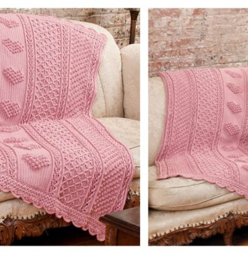 Aran Hearts Throw Free Crochet Pattern