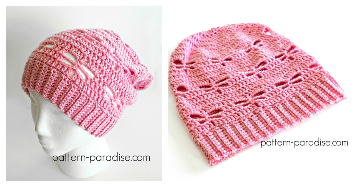 Dragonfly Stitch Slouchy Hat Free Crochet Pattern