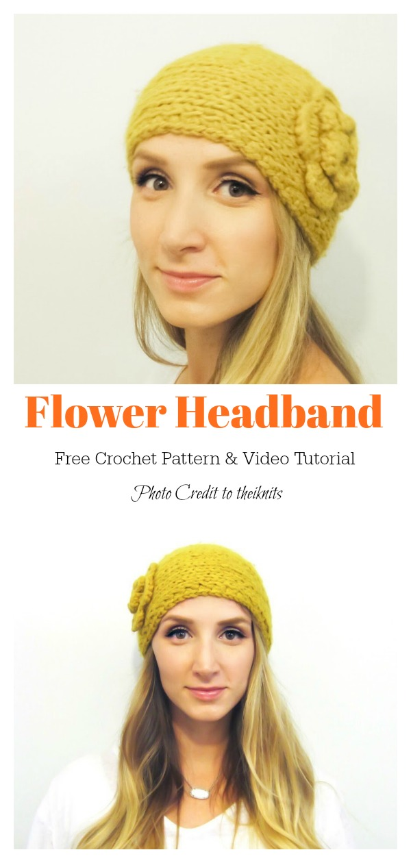 Flower Headband Free Crochet Pattern and Video Tutorial