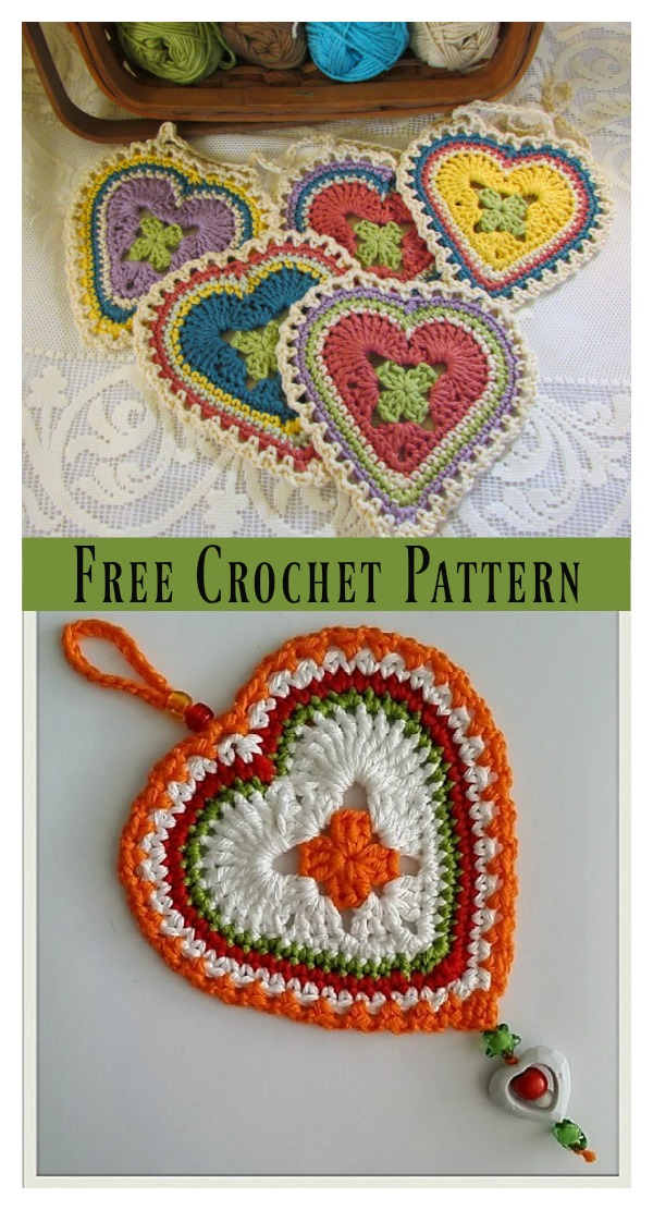 Granny Sweet Heart Free Crochet Pattern