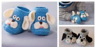 Happy Puppy Baby Slippers Free Crochet Pattern