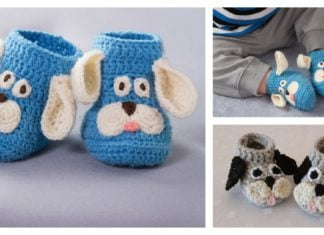 Happy Puppy Baby Slippers Free Crochet Pattern