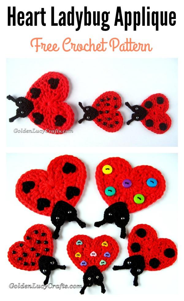 Heart Ladybug Applique Free Crochet Pattern