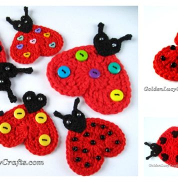 Heart Ladybug Applique Free Crochet Pattern