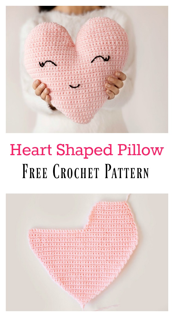 Heart Shaped Pillow Free Crochet Pattern