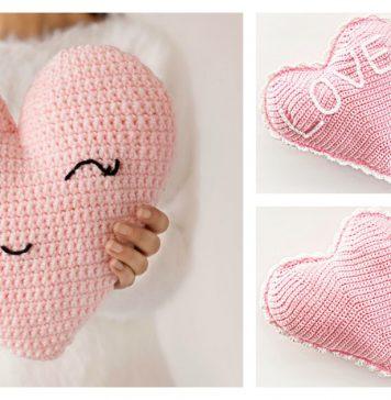Heart Shaped Pillow Free Crochet Pattern