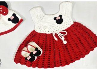 Mickey Minnie Mouse Baby Dress Set Free Crochet Pattern