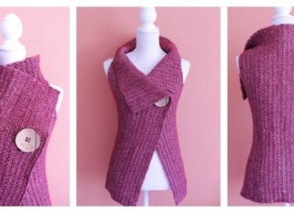 Peek-a-Boo Button Wrap Free Crochet Pattern (S-XL)