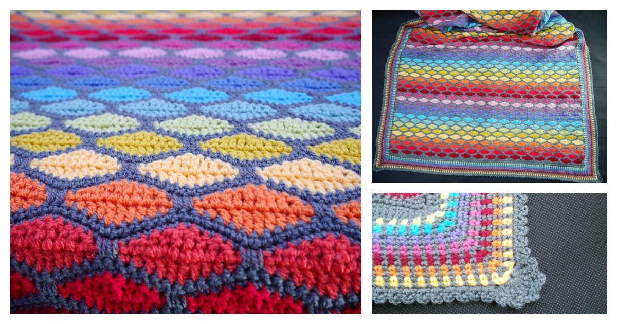 Rainbow Stained Glass Blanket Free Crochet Pattern